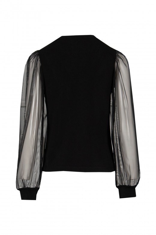 Long sleeve top with tulle