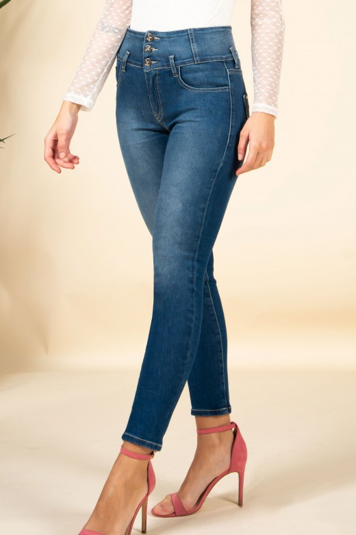 Skinny jeans with buttons