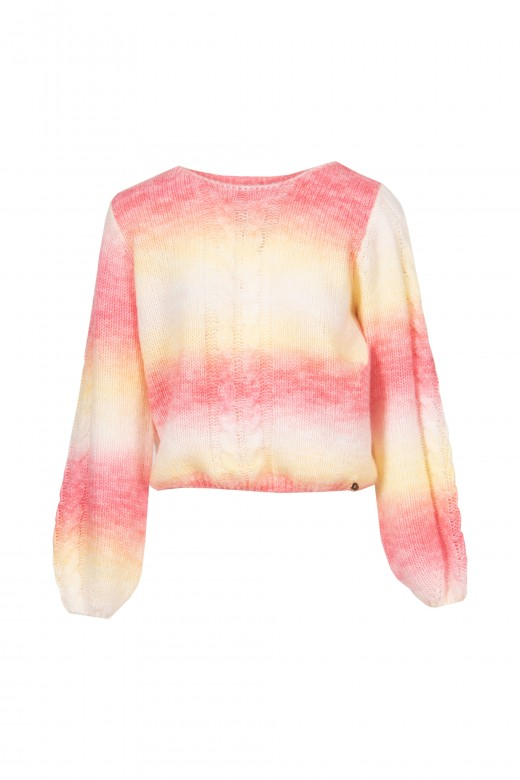 Tie dye crafted knit sweater