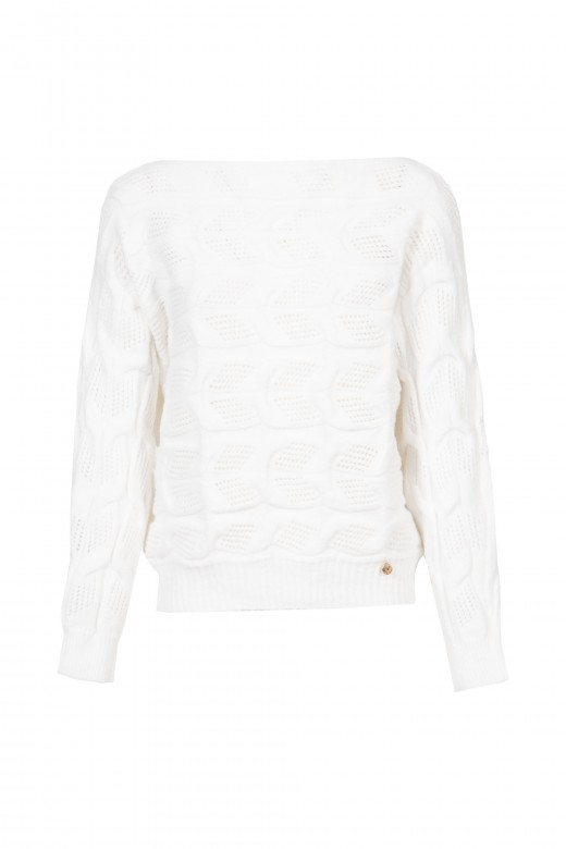 Camisola de malha trabalhada decote redondo