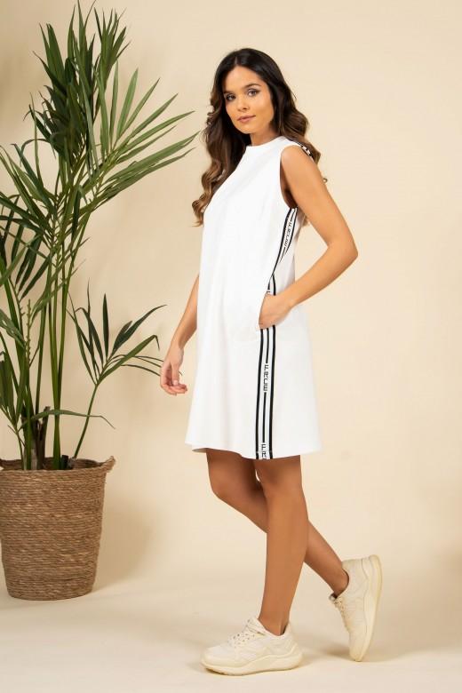 Knit dress with logo side stripe