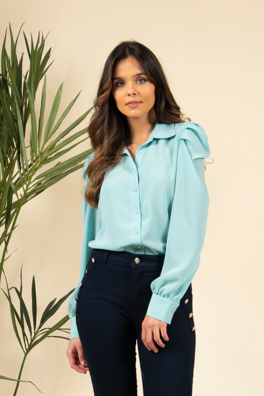 Blouse with puff sleeves