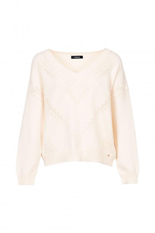 V-neck knitted sweater