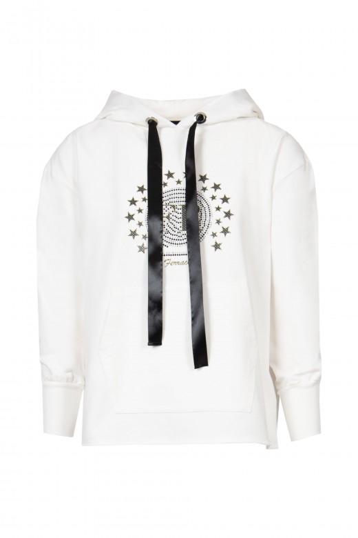 Hooded sweatshirt application in front