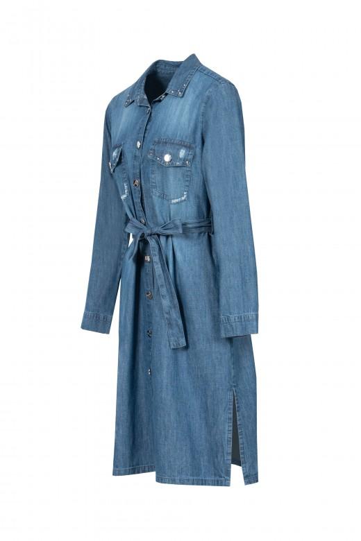 Vestido camiseiro de ganga com cinto