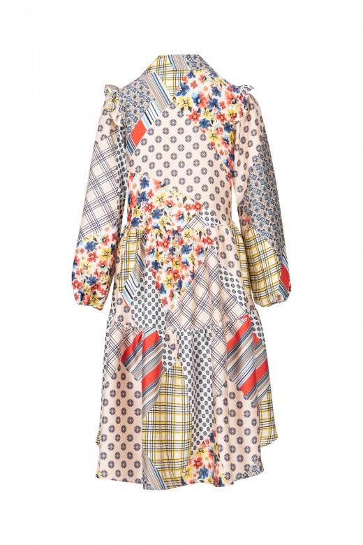 Printed asymmetrical shirt dress