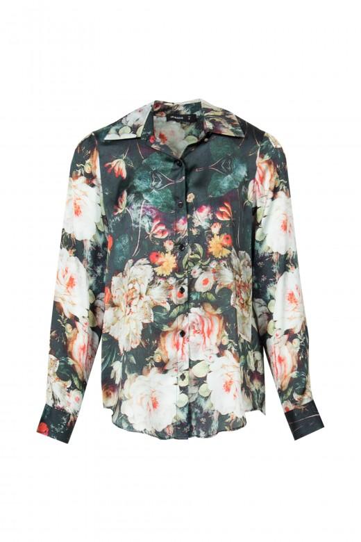 Blusa floral manga comprida
