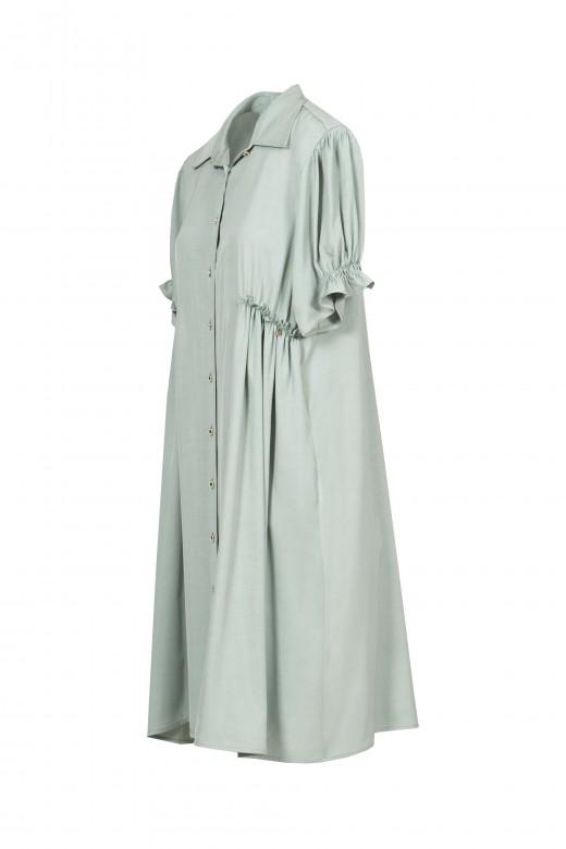 Shirt dress with ruffle