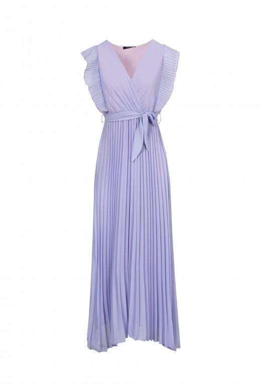 Vestido comprido com plissado