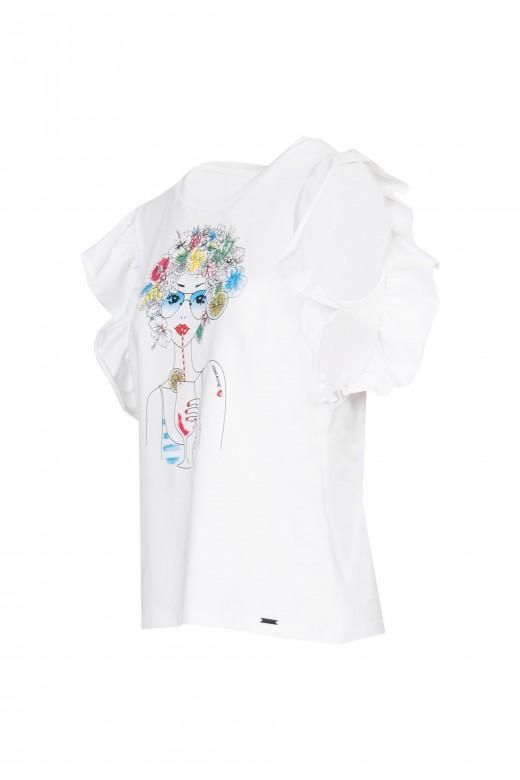 T-shirt boneca com manga folho