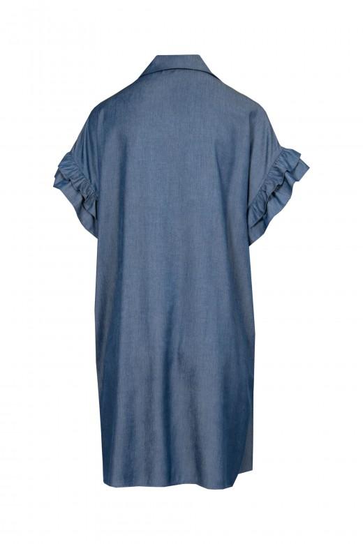 Vestido manga folho