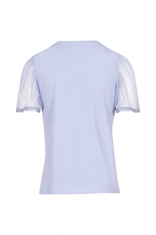 Sweater with transparent sleeve