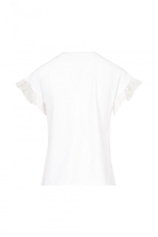 T-shirt com folho de renda