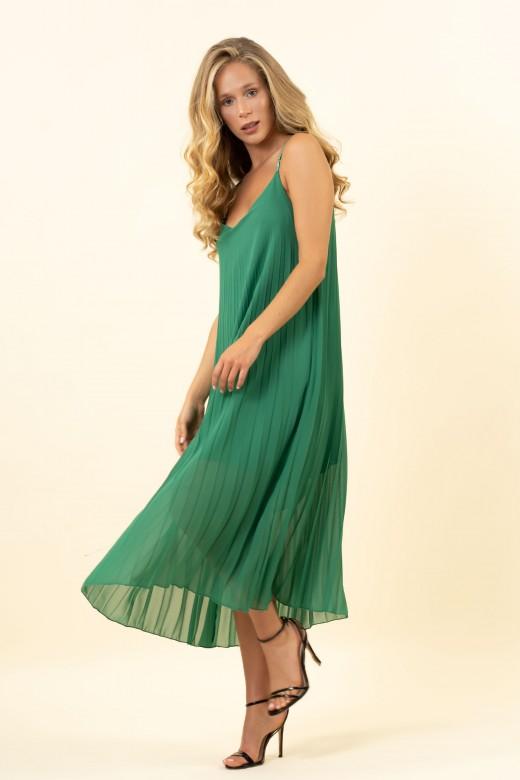 Strap pleated dress
