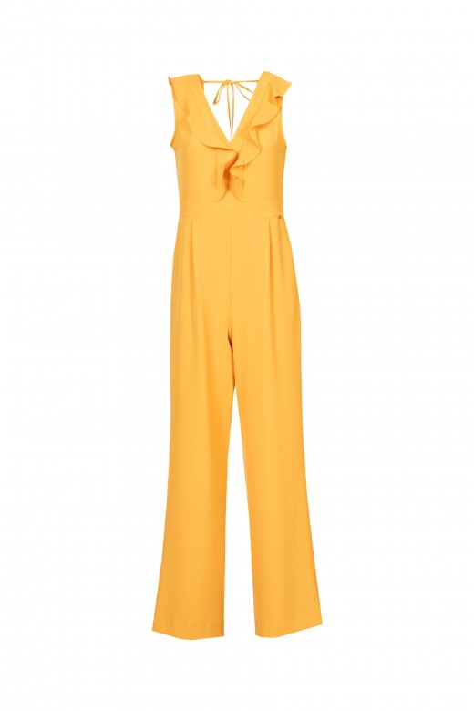 Jumpsuit with ruffle at the neckline