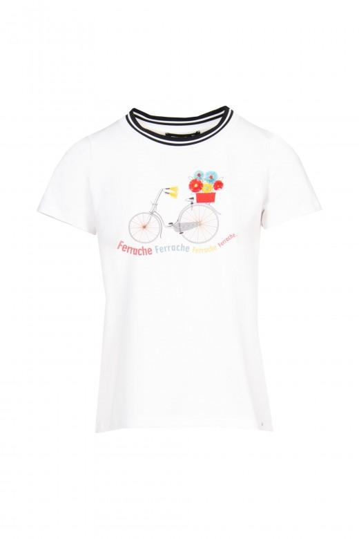 T-shirt com pormenor de fita no decote