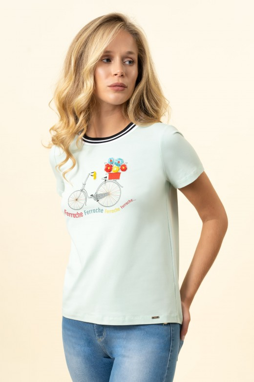 T-shirt with ribbon detail at the neckline