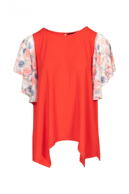 Asymmetric shirt with contrasting frill