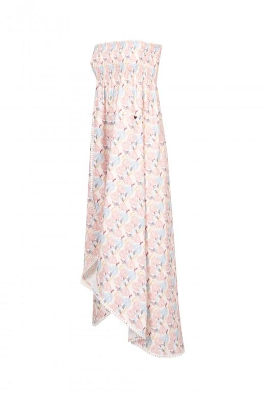 Dress falls asymmetrical.