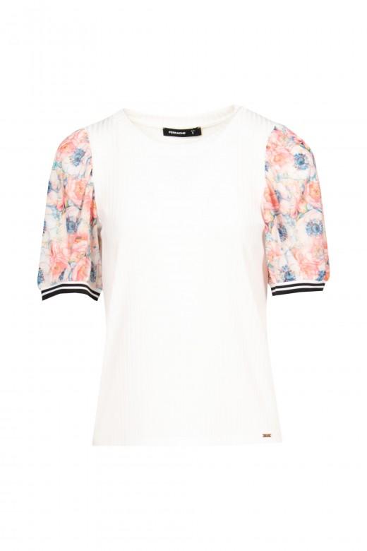 Jersey de canalé con manga floral