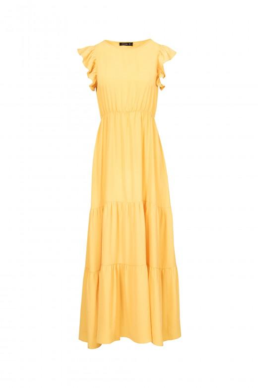 Midi dress with ruffle sleeve