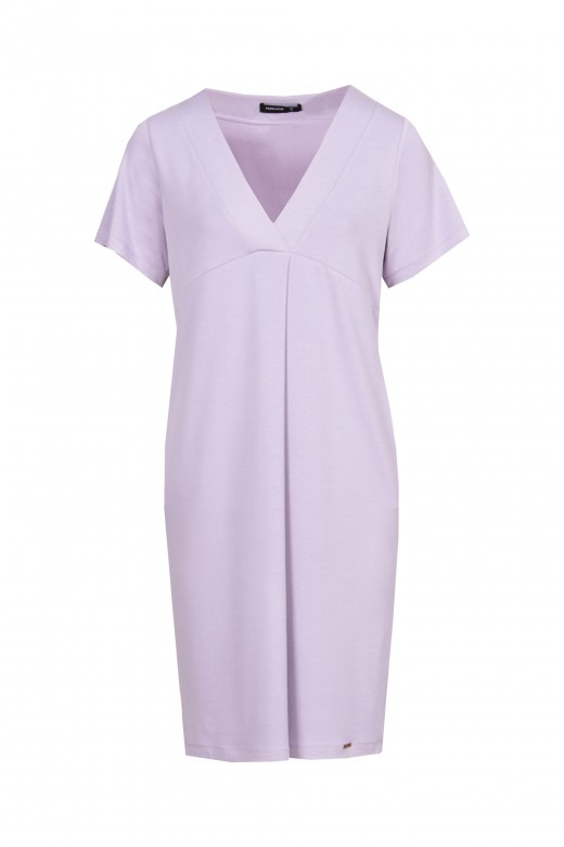 Mesh dress with front pleat