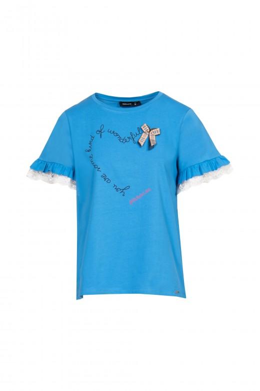 T-shirt aplicação laço manga com folho