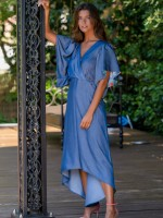 Asymmetrical dress with contrasting inner frill