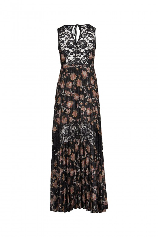 Lace dress and pleated skirt