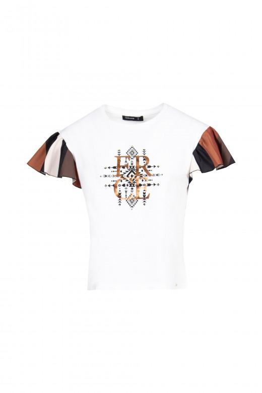 T-shirt com manga godé