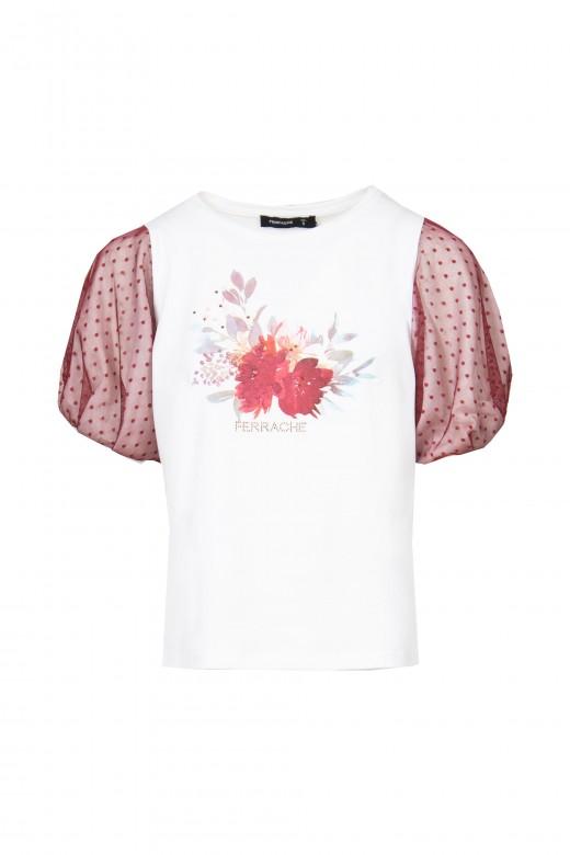 T-shirt avec manche en tulle