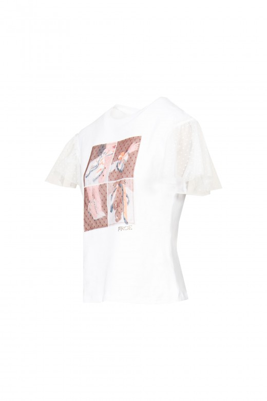 T-shirt with tulle sleeve