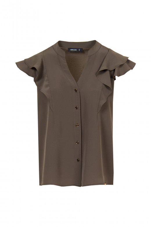 V-blouse with frill.
