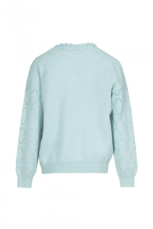 Perforated mesh sweater with medium collar