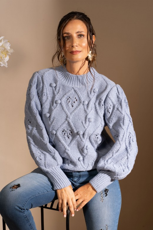 Perforated mesh sweater with lace