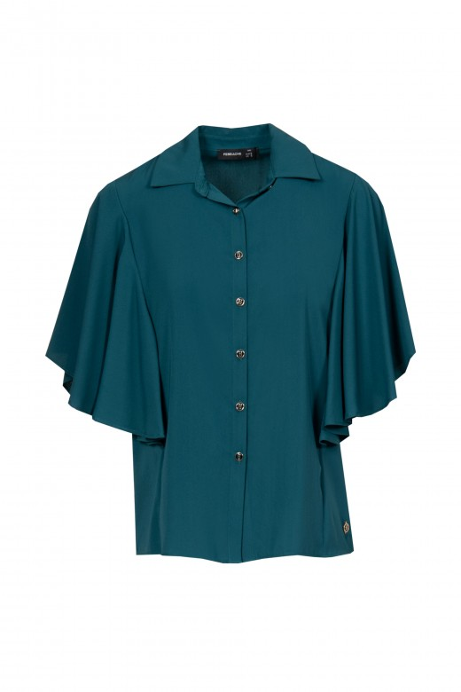 Blouse with bat sleeve