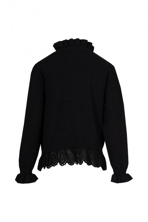 Sweater with frill in english embroidery