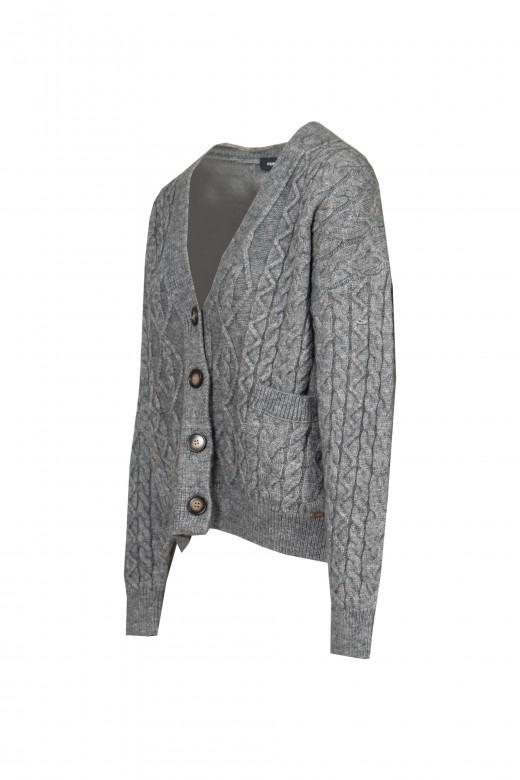 V-neck knit jacket