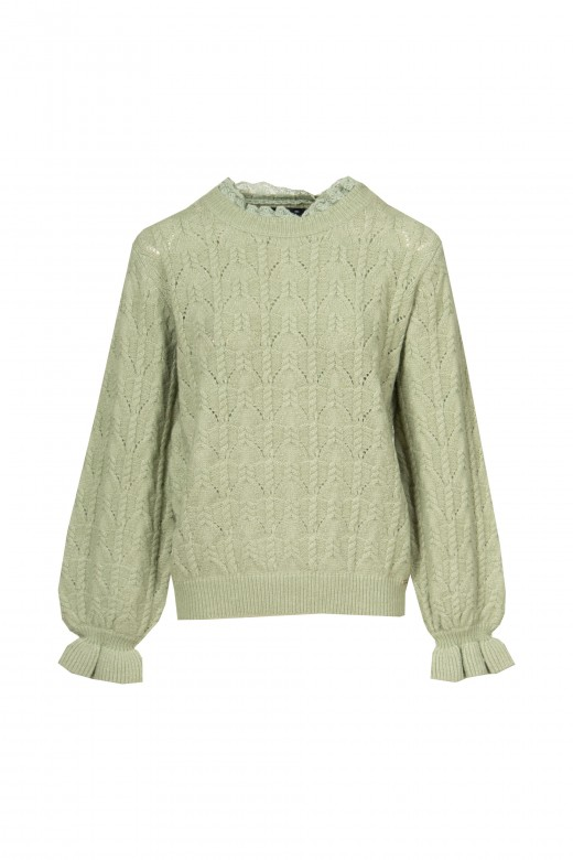 Knitted sweater with lace on the collar
