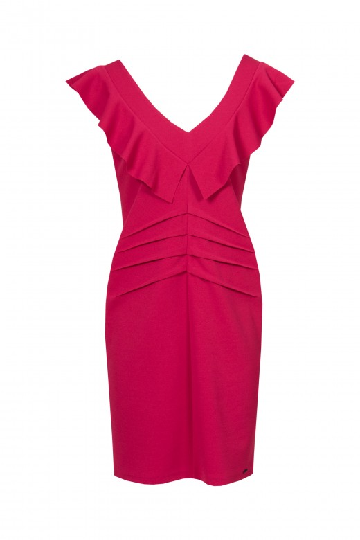 Belted dress with frill