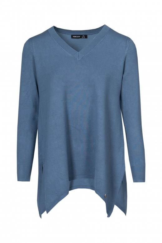 Asymmetrical knitted tunic with peaked neckline and long sleeves.