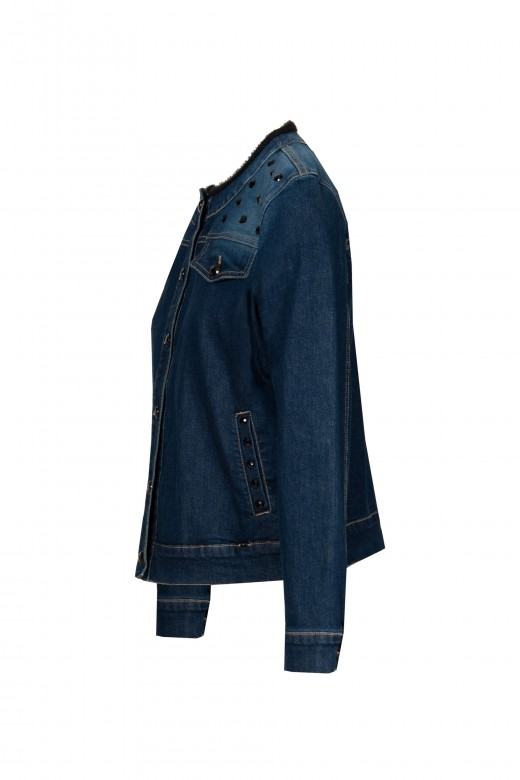 Denim jacket with appliqués