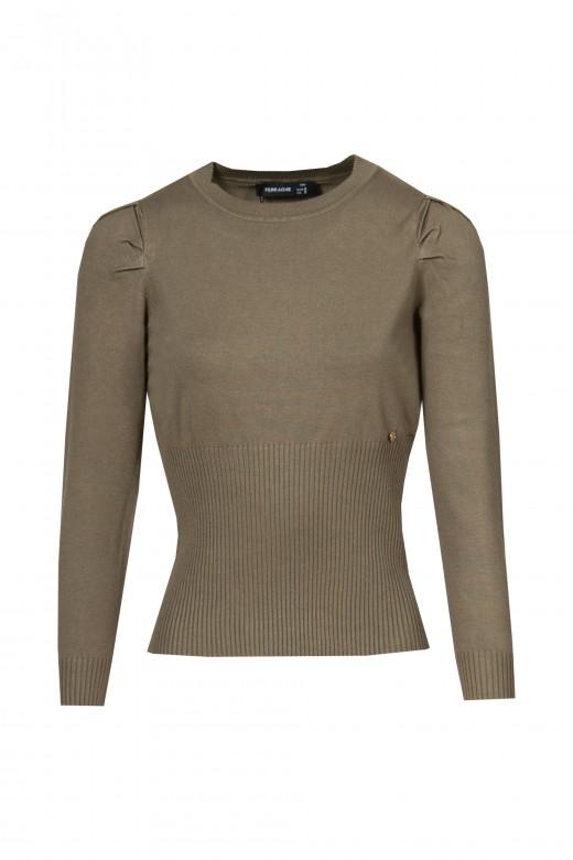 Basic sweater with balloon sleeve