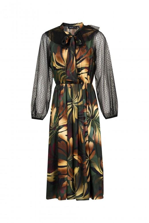 Midi dress with sheer sleeves