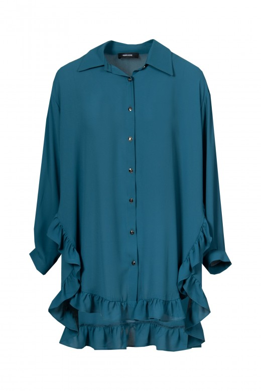 Asymmetric tunic with frill