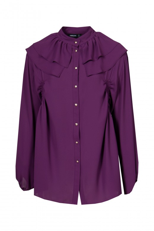 Blouse with bow and double ruffle